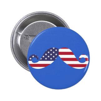 American Flag Mustache Pins