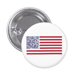 American Flag National Anthem QR Code 1 Inch Round Button