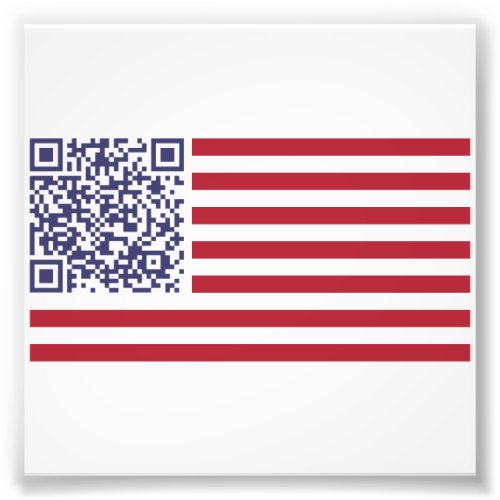 American Flag National Anthem QR Code Photo Print
