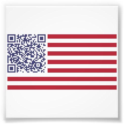 American Flag National Anthem QR Code Photo Print