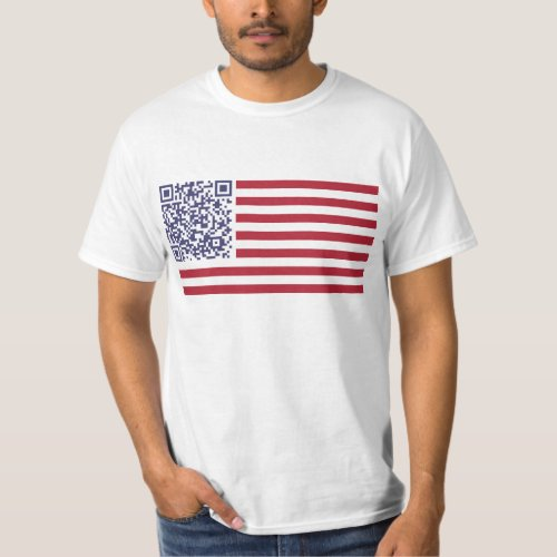 American Flag National Anthem QR Code T_Shirt