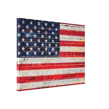 USA Themed American flag on a brick wall canvas print