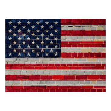 USA Themed American flag on a brick wall poster