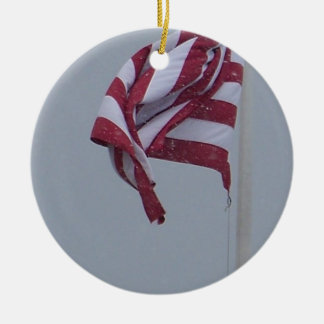 American Flag On A Snowy Day Photograph Ceramic Ornament