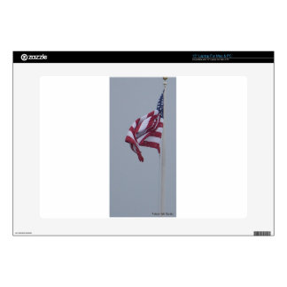 American Flag On A Snowy Day Photograph Decals For Laptops