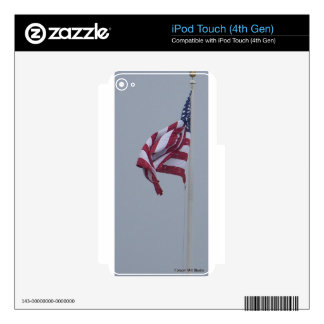 American Flag On A Snowy Day Photograph iPod Touch 4G Skin