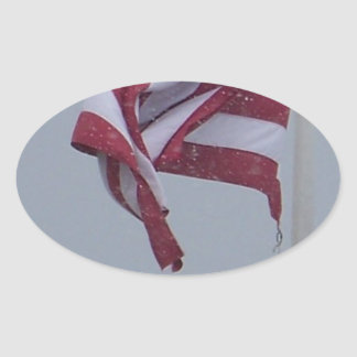 American Flag On A Snowy Day Photograph Oval Sticker