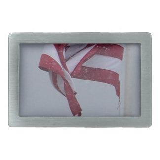 American Flag On A Snowy Day Photograph Rectangular Belt Buckle