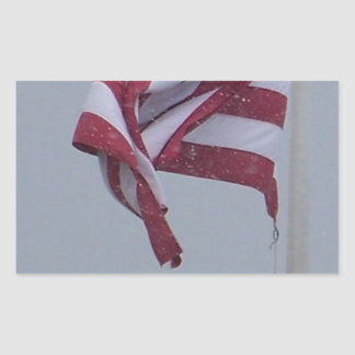 American Flag On A Snowy Day Photograph Rectangular Sticker