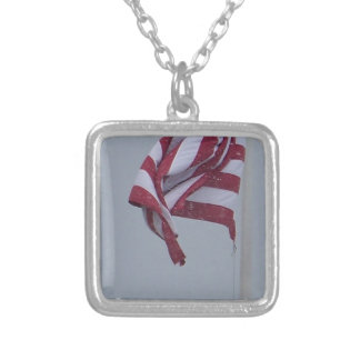 American Flag On A Snowy Day Photograph Silver Plated Necklace