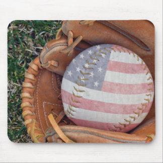 American flag on ball mouse pad