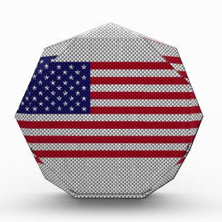 American Flag on Carbon Fiber Style Print Award