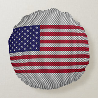 American Flag on Carbon Fiber Style Print Round Pillow