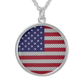 American Flag on Carbon Fiber Style Print Sterling Silver Necklace