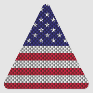 American Flag on Carbon Fiber Style Print Triangle Sticker