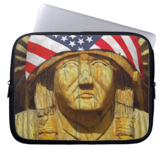 American Flag on Carving of Native American, Computer Sleeve