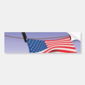 American Flag on Clothes Line Car Bumper Sticker