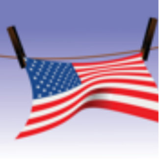 American Flag on Clothes Line Cutout