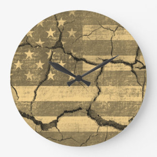 American Flag on Cracked Wall Large Clock