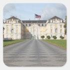 American Flag on German Castle Square Sticker