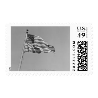 American flag on mast postage
