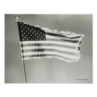 American flag on mast poster