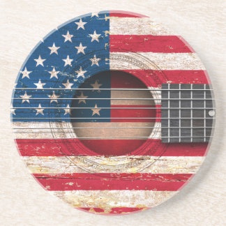 American Flag on Old Acoustic Guitar Drink Coasters