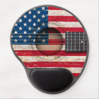 American Flag on Old Acoustic Guitar Gel Mouse Pad