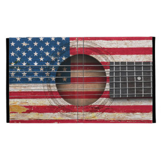 American Flag on Old Acoustic Guitar iPad Folio Covers