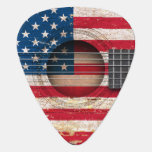 American Flag on Old Acoustic Guitar Pick