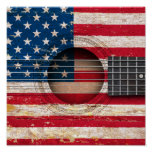 American Flag on Old Acoustic Guitar Poster