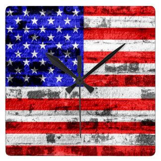 American Flag on Old Brick Wall Clocks