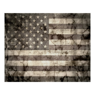 American Flag On Old Cracked Wall Poster