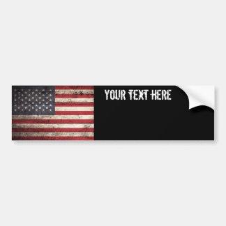 American Flag on Old Wood Grain Bumper Sticker