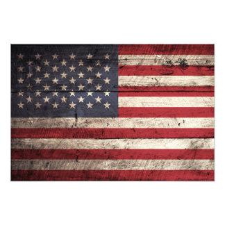 American Flag on Old Wood Grain Photo