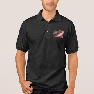 American Flag on Old Wood Grain Polo T-shirts