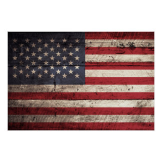 American Flag on Old Wood Grain Poster