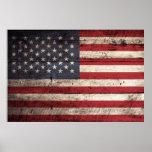 American Flag on Old Wood Grain Posters
