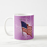 American Flag on Patriotic Red and Blue Stripes Classic White Coffee Mug