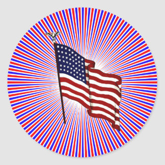 American Flag on Red and Blue Radiating Lines Classic Round Sticker