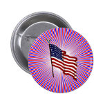 American Flag on Red and Blue Radiating Lines tag Pins