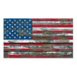 American Flag on Rough Wood Boards Effect Double-Sided Standard Business Cards (Pack Of 100)