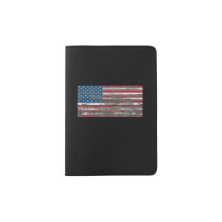 American Flag on Rough Wood Boards Effect Passport Holder