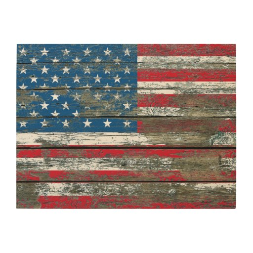 American flag on rough wood boards effect wood wall art American flag wood wall art