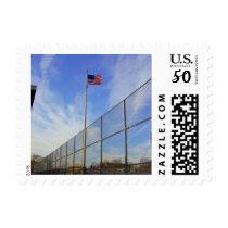 American flag on school yard postage