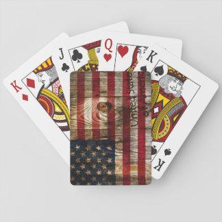 American flag on wooden board card deck