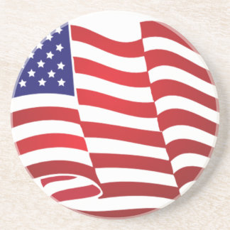 AMERICAN FLAG ONDULATING - BIG SPANGLE BANNER SANDSTONE COASTER