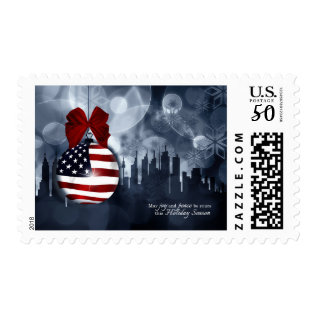 American Flag Ornament And Skyline | Christmas Postage at Zazzle