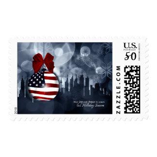 American Flag Ornament and Skyline | Christmas Postage