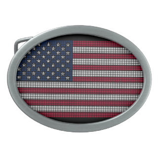 American Flag Oval Belt Buckle